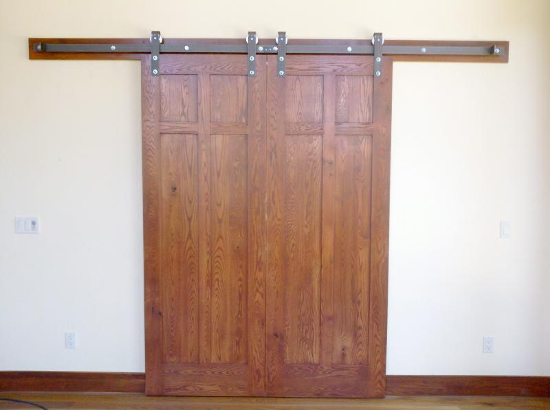 Rustic oak flat panel, barn doors