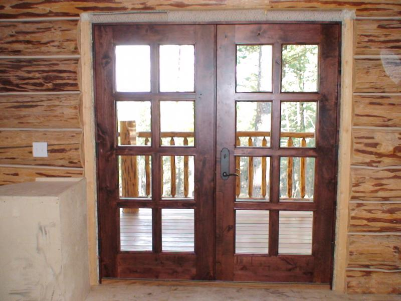 Knotty alder 8 light french doors