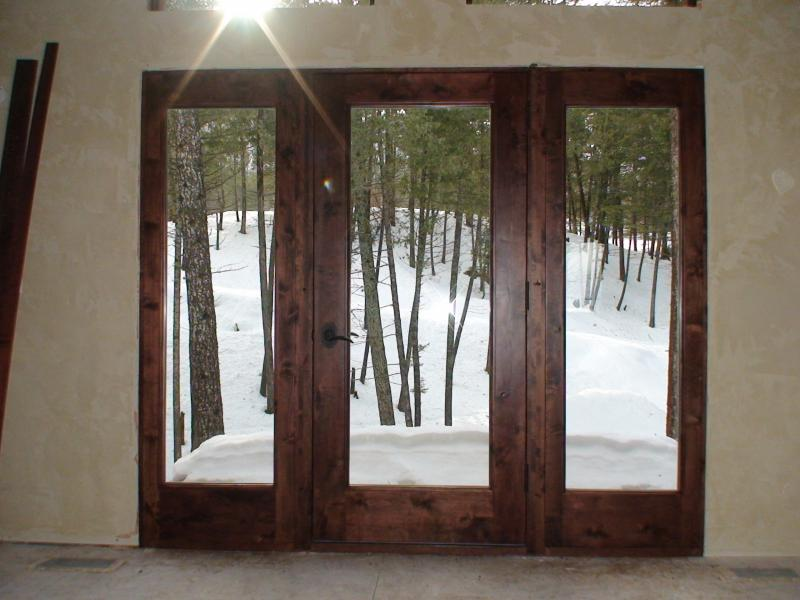 Knotty alder full glass door and sidelights