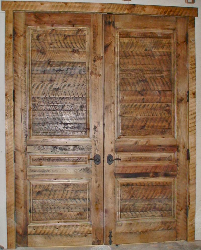 Custom design skim planed barn wood french doors.