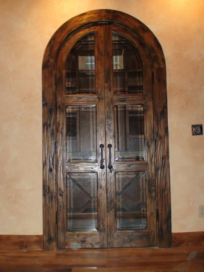 #16 Knotty Alder True Arch Double Doors With A Hand Scraped Finish And  Beveled Glass
