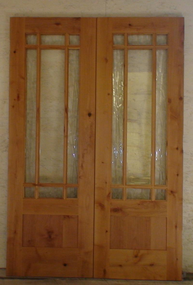 #1 Custom Knotty Alder Double Doors With Art Glass.