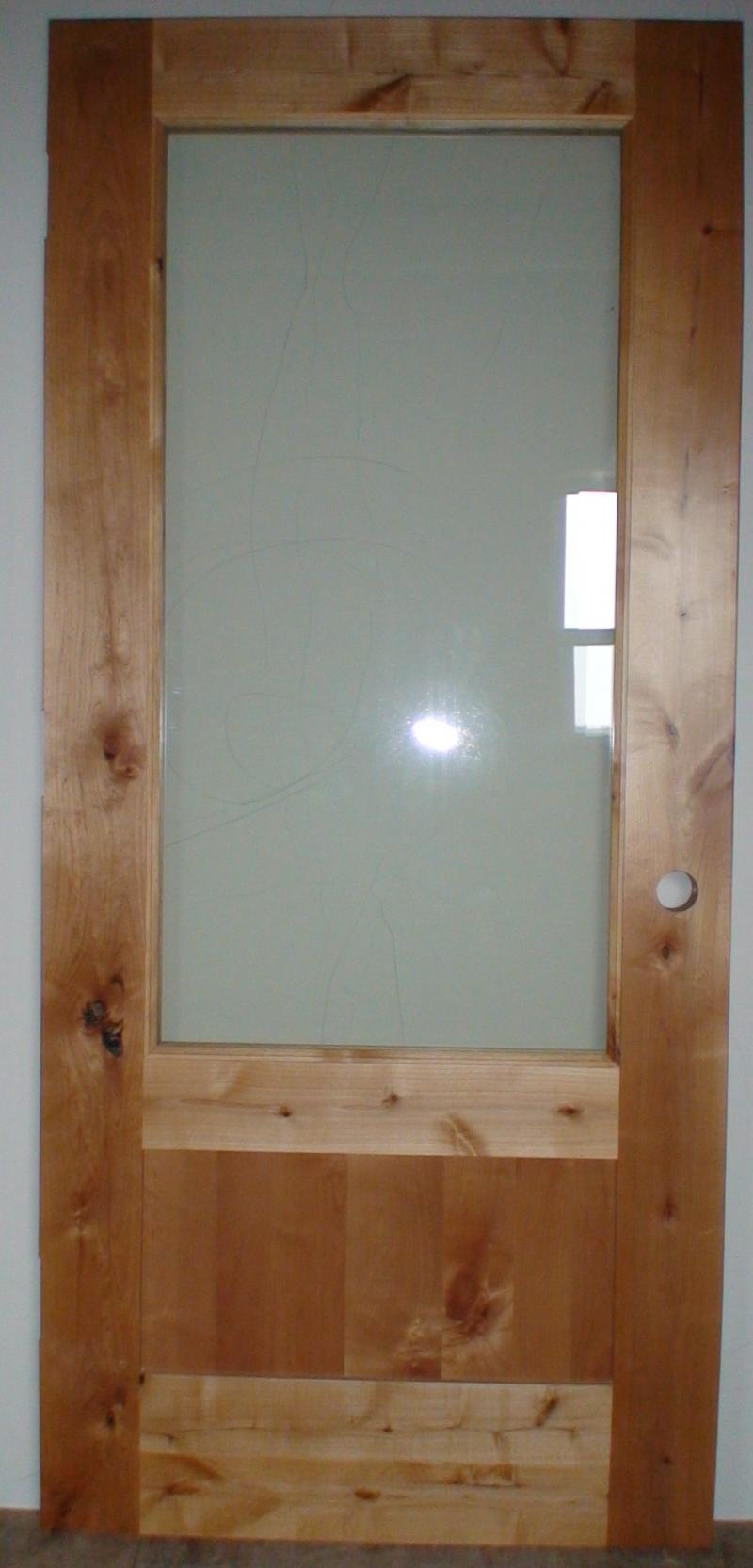 knotty alder 3/4 glass flat panels
