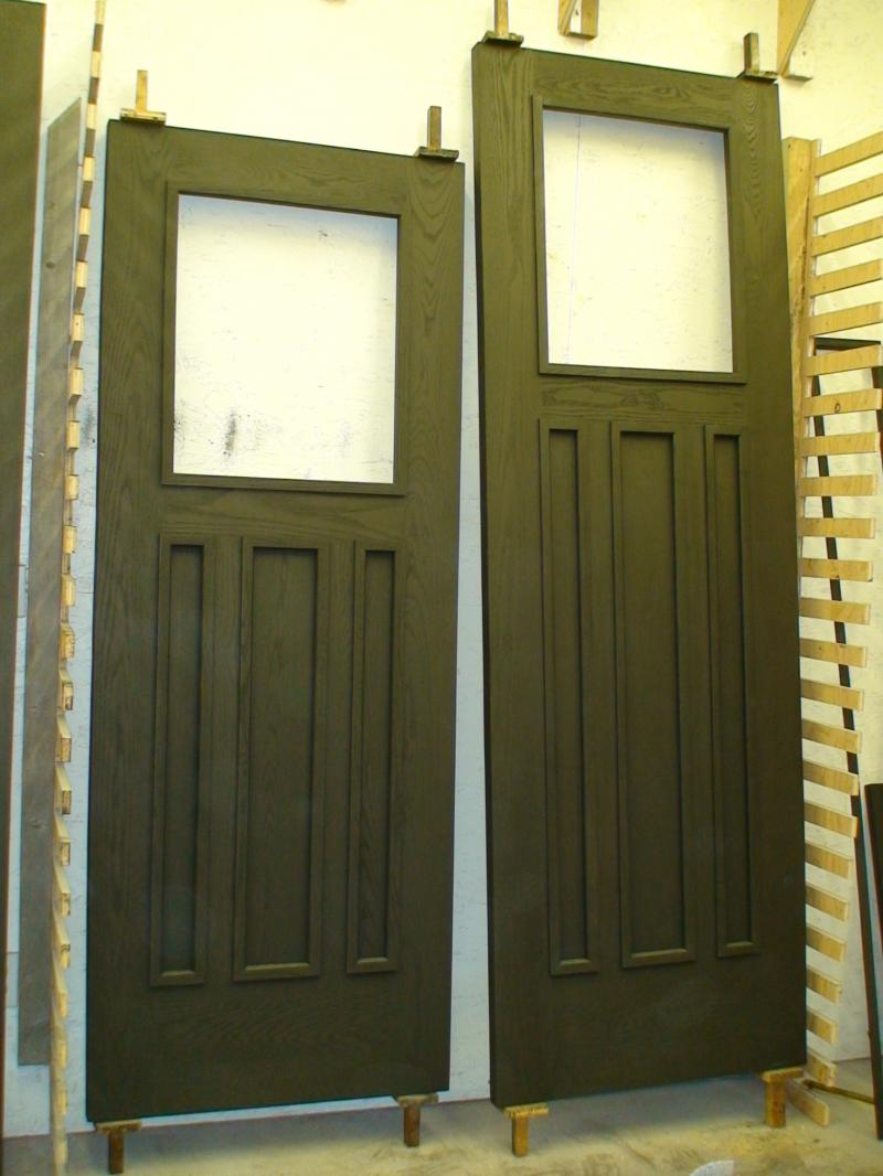 oak flat panels with applied moulding black stain