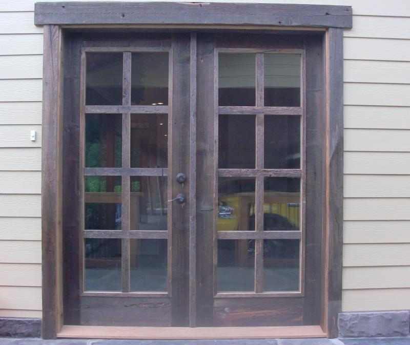 Natural grey barnwood 8 light french door