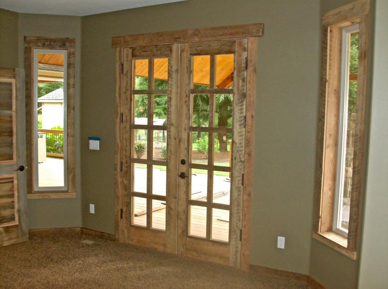 Skim planed reclaimed circle sawn 8 light french doors
