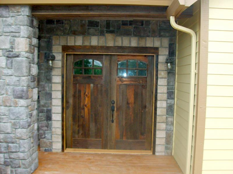 Natural grey barnwood 6 light french door with arch top rails
