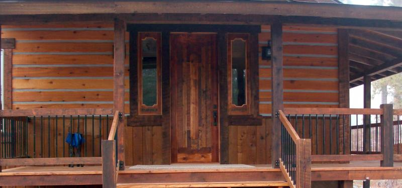 Custom design skim planed barn wood entry and 1/2 sidelights